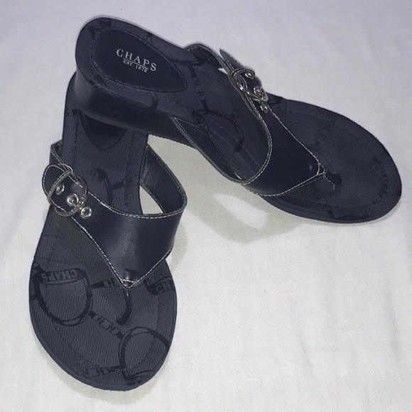 e28ca222c74 Chaps Shoes - CHAPS NAVY BLUE WEDGE THONG SANDALS
